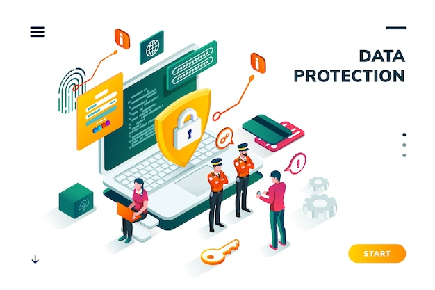 Isometric banner with notebook and policeman, shield in front of man entering password on smartphone.