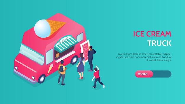 분홍색 아이스크림 트럭 앞에 서있는 사람들과 아이소 메트릭 배너