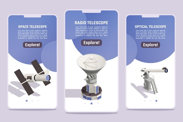 Isometric banners set with professional space radio and optical telescopes for exploring astronomy objects 3d