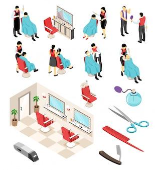 Изометрические парикмахерские парикмахерские профессиональные наборы с человеческими персонажами предметов мебели и парикмахерского оборудования, инструментов