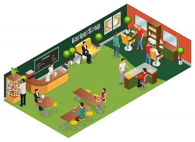 Изометрическая концепция парикмахерского салона с элементами интерьера клиентов парикмахеров и изолированным кафе