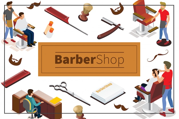 Isometric barber shop colorful composition with hairdressers clients receptionist towels chairs brush scissors combs razor cosmetic bottles mustache beard
