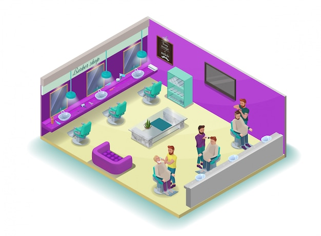 Isometric barber shop interior