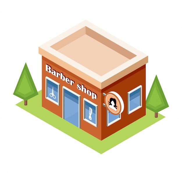 白い背景の上の等尺性理髪店