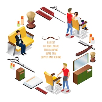 Isometric barber shop round composition with hairdressers customers interior elements combs razor brush scissors towels