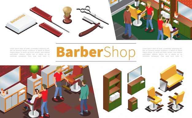 Isometric barbershop composition with hairdressers clients towels brush scissors combs razor cupboard mirror chairs sofa