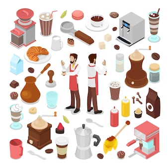 Isometric bartender and coffee cafe elements collection