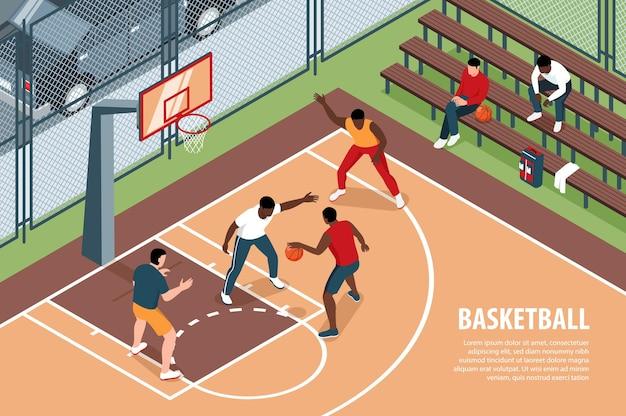 Illustrazione di basket isometrica con testo modificabile e vista del parco giochi con atleti e spettatori