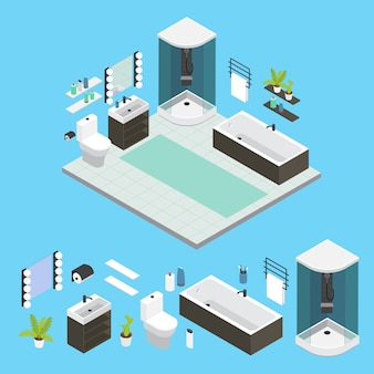 シャワーの小さな部屋のタイル張りの床と等尺性バスルームインテリア構成
