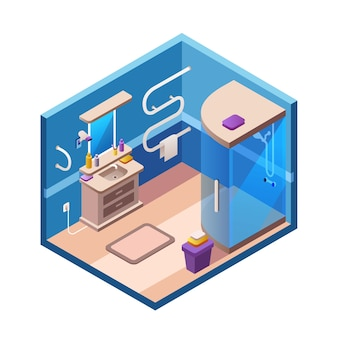 Isometric bathroom interior section template. 3d modern home, hotel apartment