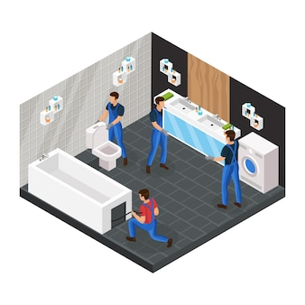 Isometric bathroom renovation concept with professional workers install toilet bowl bath and hang mirror