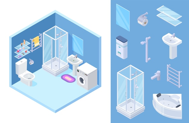 Isometric bathroom set