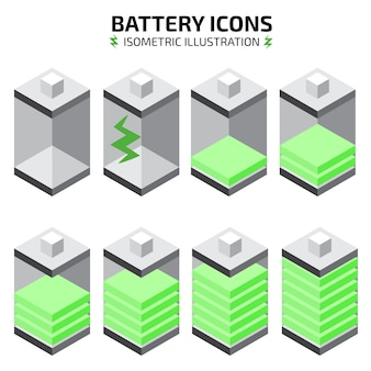 Isometric battery icon set