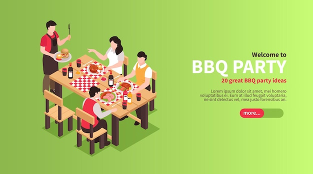 Barbecue isometrico barbecue con illustrazione del pulsante di scorrimento