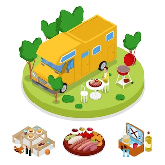 Isometric bbq camper picnic party. summer holiday camp