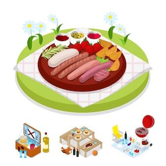 Изометрическая иллюстрация сумки для пикника барбекю