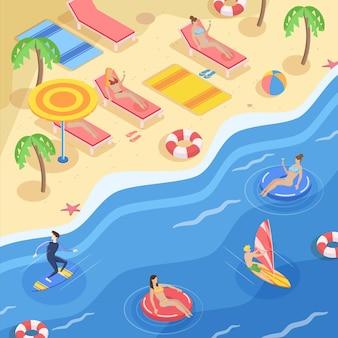 Изометрические пляжная концепция