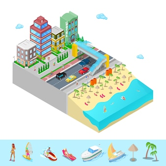 Isometric beach hotel with sea coast and active swimming people.