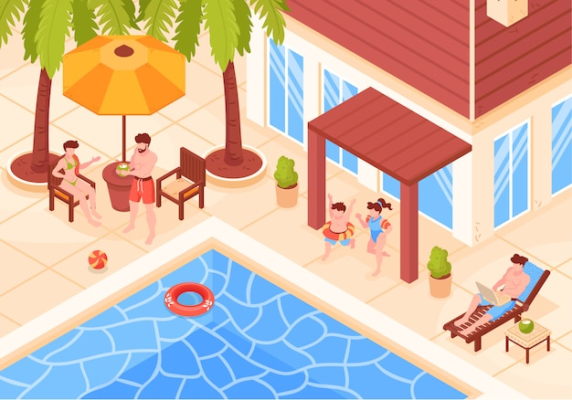 Isometric beach house tropic holidays composition with view of modern villa buildings with people and pool vector illustration
