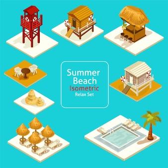 Изометрические пляж иконки. пляжный отдых набор