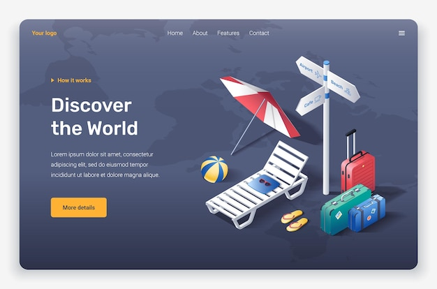 Isometric beach umbrella, ball, slippers, sunbed, suicases, sunglasses and road sign. landing page template.