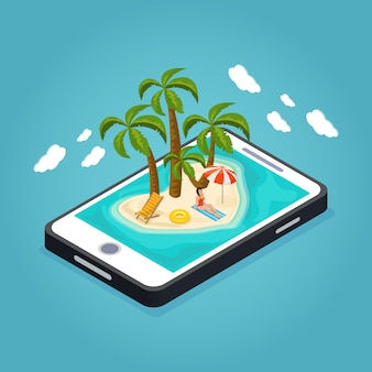 Isometric beach vacation mobile concept