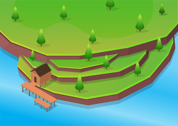 Isometric beach with wooden house on terraces