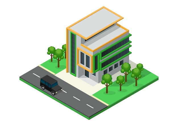 Изометрические красивый дом с минималистской архитектурой