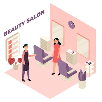 Изометрические концепция салона красоты