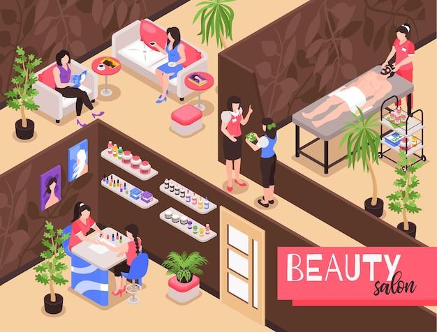 Composizione isometrica nell'illustrazione del salone di bellezza con vista interna dello studio spa con persone durante le procedure di terapia