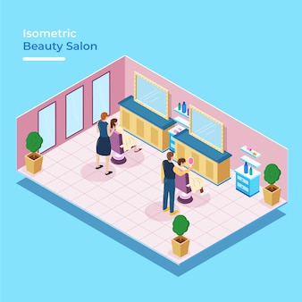 Isometric beauty salon with people