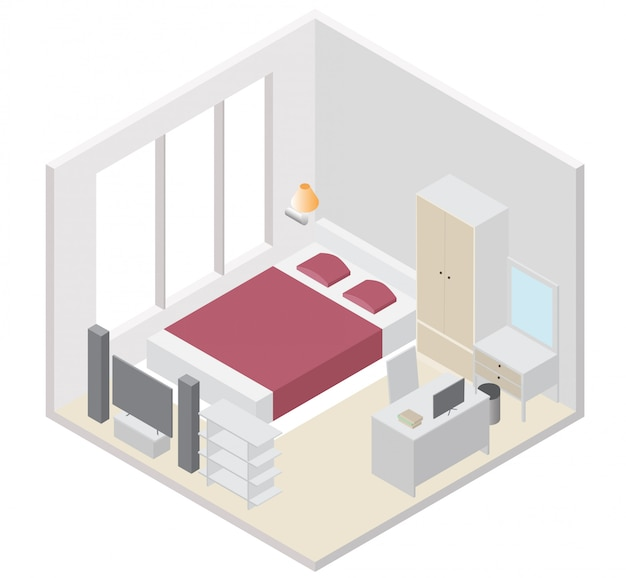 Isometric bedroom icon