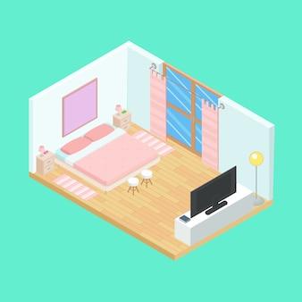 Isometric bedroom pink