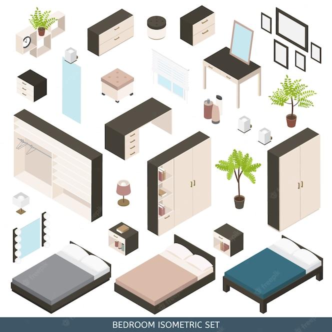 Free Vector Isometric Bedroom Scene Creator Set