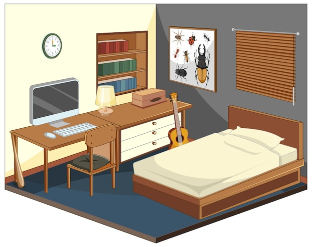 Isometric bedroom with furnitures