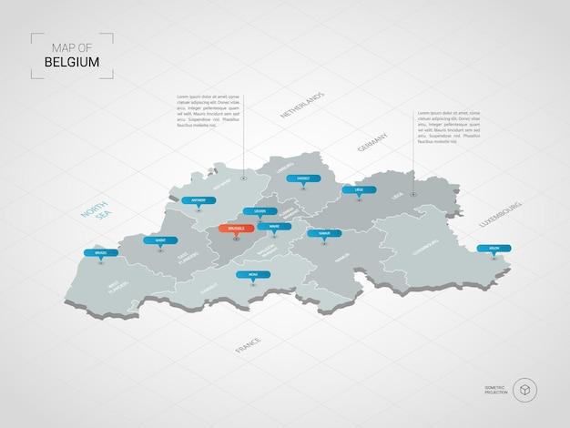 Изометрическая карта бельгии. стилизованная иллюстрация карты с городами, границами, столицей, административным делением и указателями; градиентный фон с сеткой.