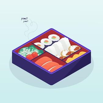 Изометрическая иллюстрация коробки бенто