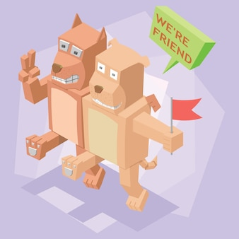 Isometric bestfriend dog and cat