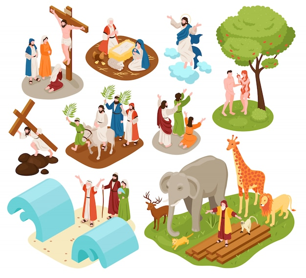 Isometric bible narratives set with ancient christian characters of noah with animals adam eve jesus christ