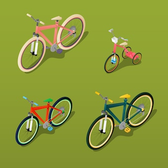 Isometric bicycle. city bicycle, children bicycle. vector illustration
