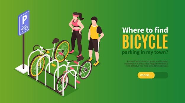 Изометрический велосипедный горизонтальный баннер с персонажами гонщиков на парковке