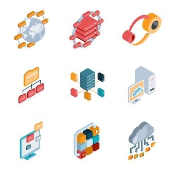 Icone colorate di analisi isometrica big data su sfondo bianco.