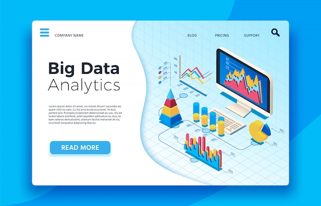 Isometric big data analytics. analytical infographic statistic dashboard. 3d