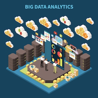 Isometric big data analytics composition with team on brainstorming and data clouds in the air  illustration