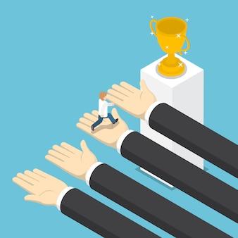 Isometric big hands help businessman to success