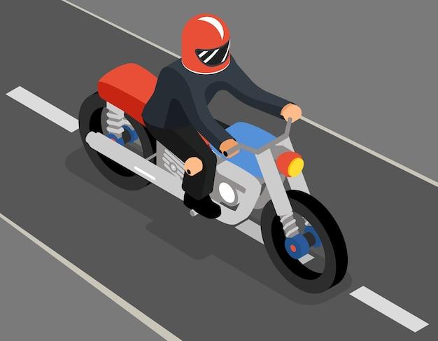 Изометрические байкер на вид сбоку дороги сверху. мотоциклетный транспорт, спорт и скорость, автомобиль и гонщик