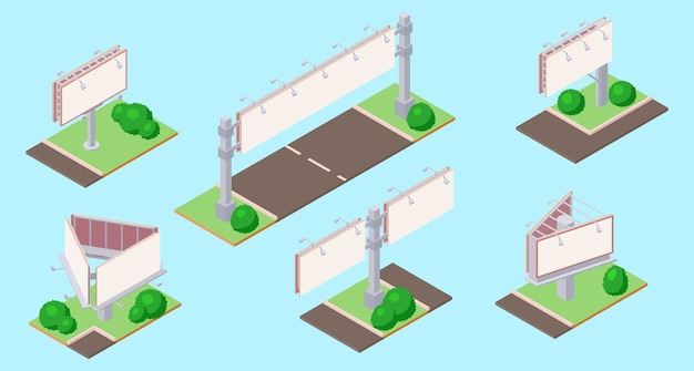 Isometric billboard on green ground near road for outdoor advertising.