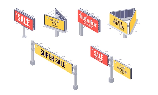 Isometric billboard set with canvas for outdoor advertising.