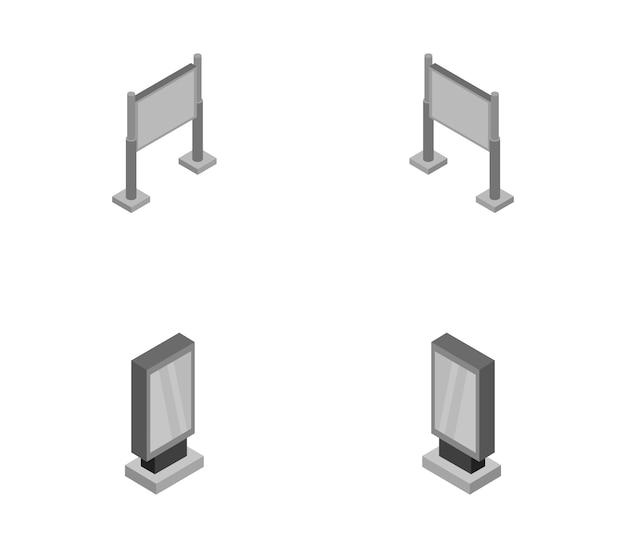 Изометрический набор рекламных щитов