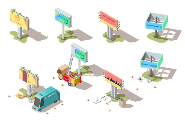 Isometric billboards, advertising street banners